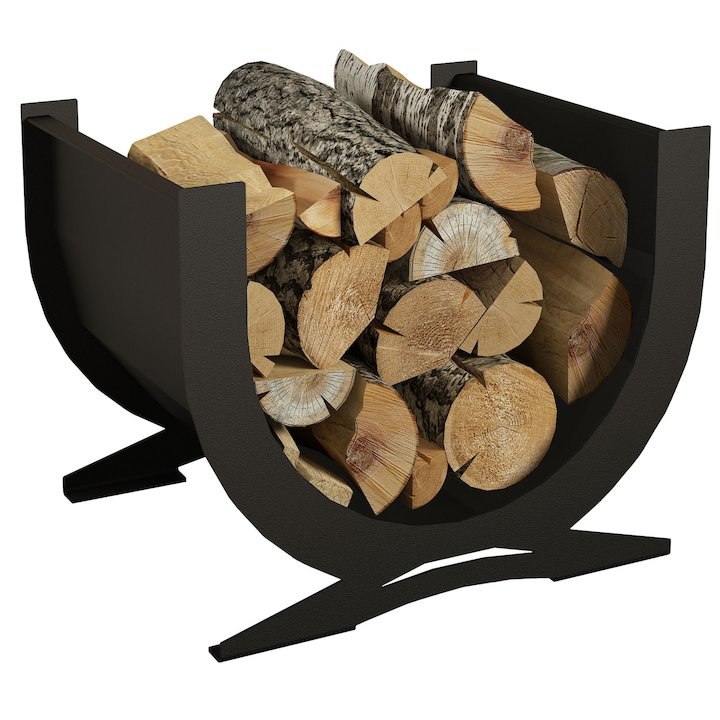 Broseley Curved Log Holder - Black