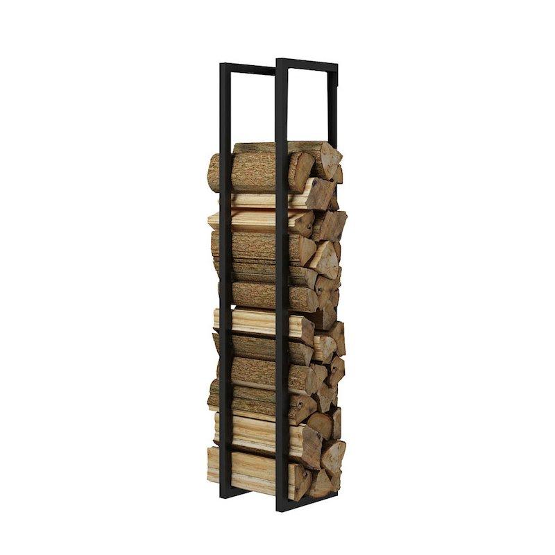 Rais Woodwall Open Short Wall Mounted Log Holder - Black