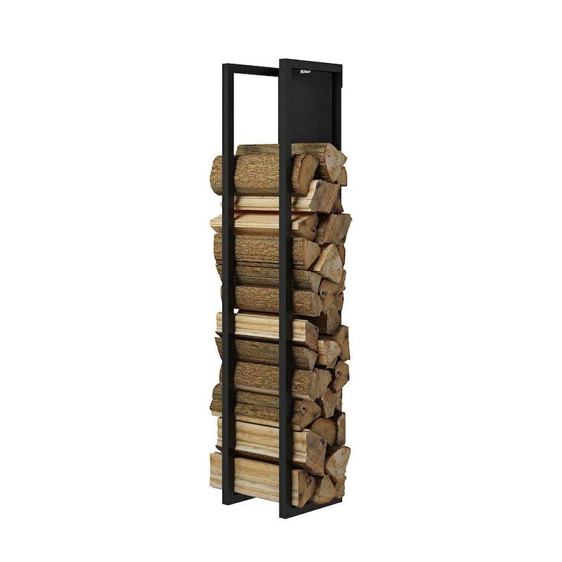 Rais Woodwall Closed Short Wall Mounted Log Holder - Black