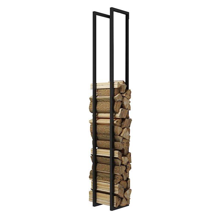 Rais Woodwall Open Tall Wall Mounted Log Holder - Black
