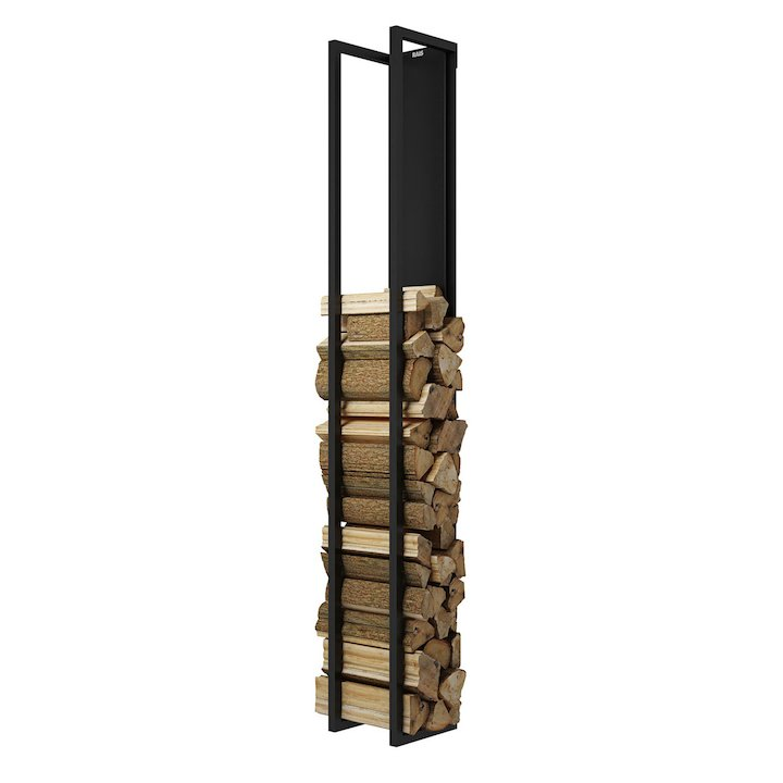 Rais Woodwall Closed Tall Wall Mounted Log Holder - Black