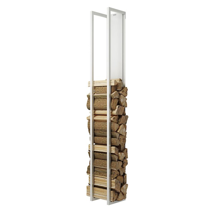 Rais Woodwall Closed Tall Wall Mounted Log Holder - White