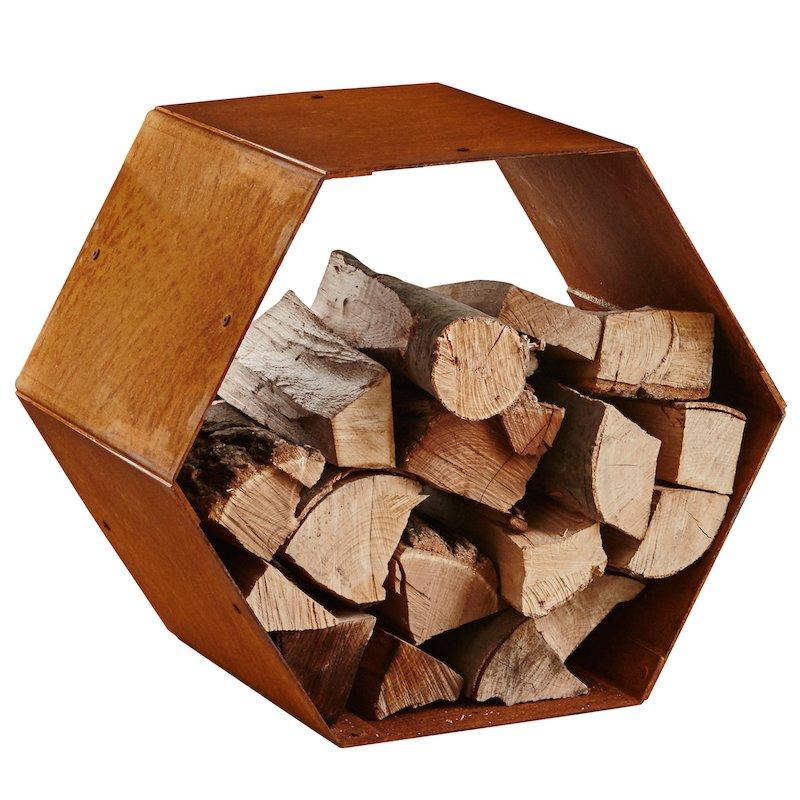 Heta Hexagon Modular Outdoor Log Store - Corten Steel