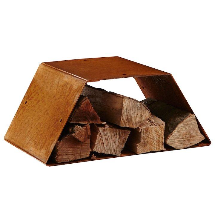 Heta Trapez Modular Outdoor Log Store - Corten Steel