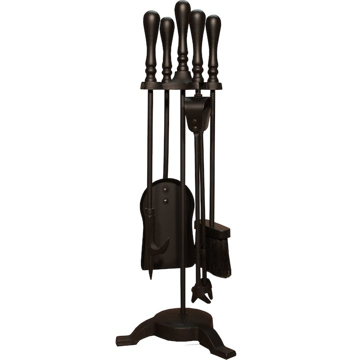 Calfire Traditional Tall Fire Tool Companion Set - Black