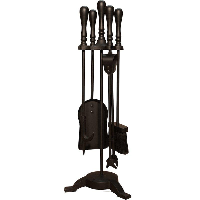 Calfire Traditional Tall Fire Tool Companion Set - Black