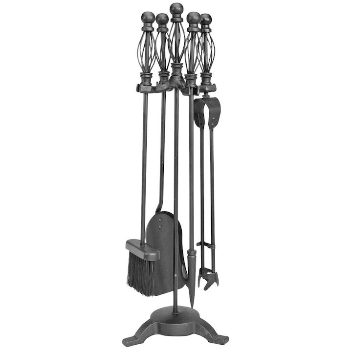 Manor Ball Cage Fire Tool Companion Set - Black