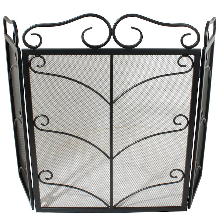 Calfire 3 Fold Decorative Wrought Iron Small Fire Screen - Black