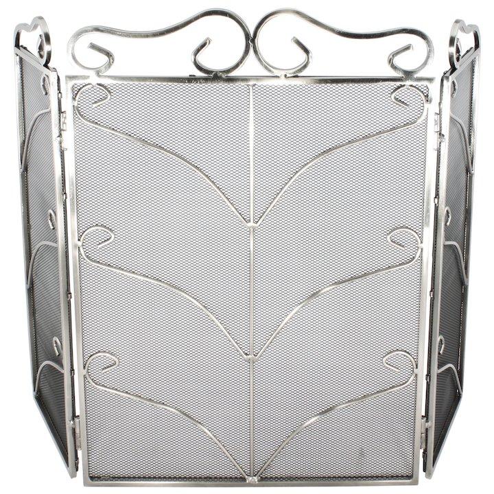 Calfire 3 Fold Decorative Wrought Iron Small Fire Screen - Silver Filigree