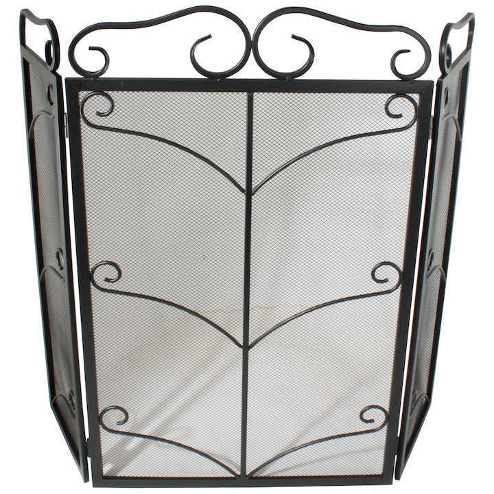 Calfire 3 Fold Decorative Wrought Iron Large Fire Screen - Black