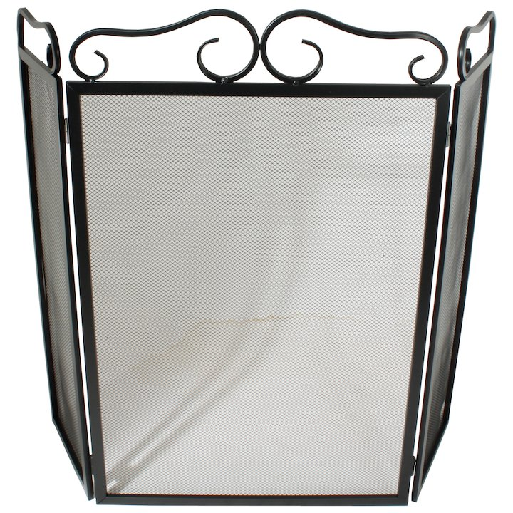 Calfire 3 Fold Plain Wrought Iron Large Fire Screen - Black