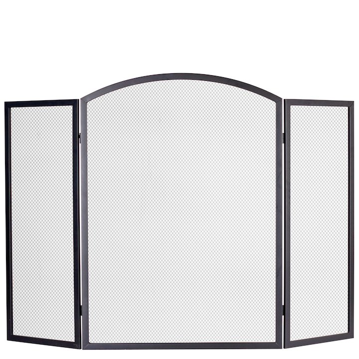 Calfire 3 Fold Arched Small Fire Screen - Black