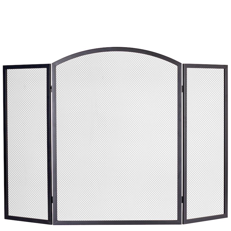 Calfire 3 Fold Arched Large Fire Screen - Black