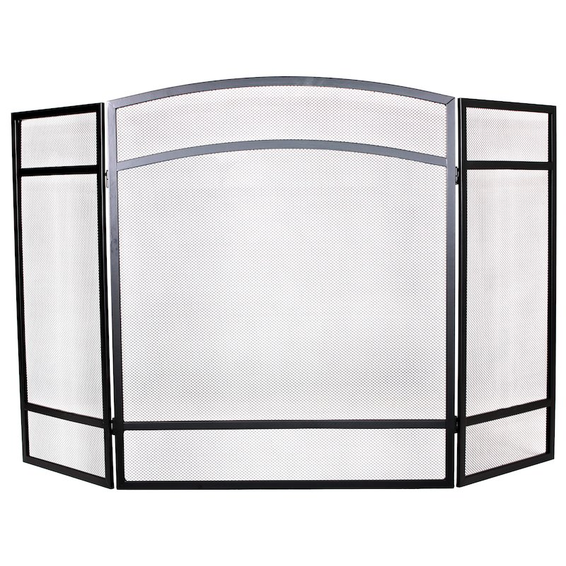 Calfire 3 Fold Basic Large Fire Screen - Black