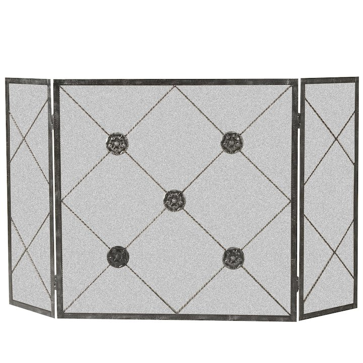 Calfire 3 Fold Medallion Large Fire Screen - Black