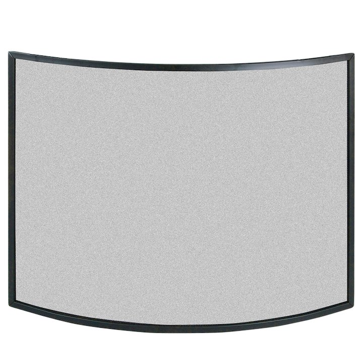 Calfire 3 Fold Narrow Curved Small Fire Screen - Black