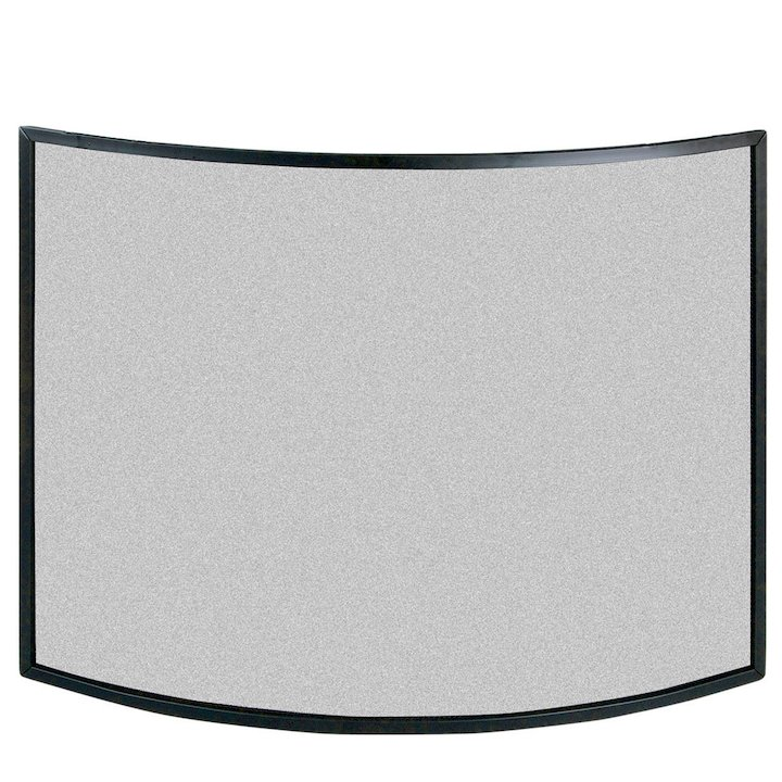 Calfire 3 Fold Narrow Curved Large Fire Screen - Black