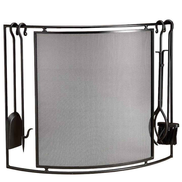 Calfire Laura Fire Screen - With Fire Tools - Black