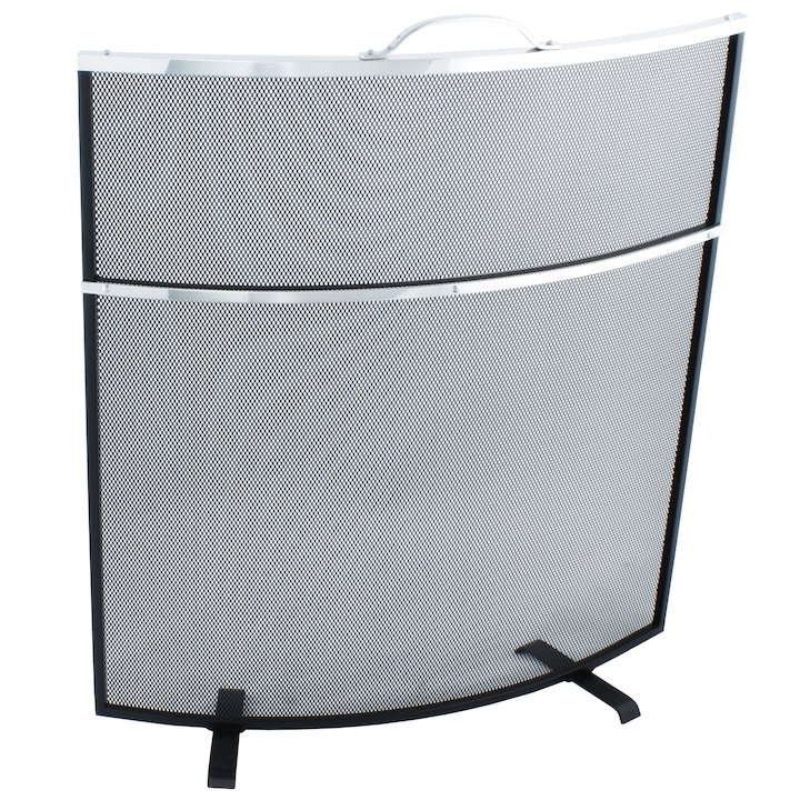 Calfire Noble Curved Deluxe Fire Screen - Black / Aluminium