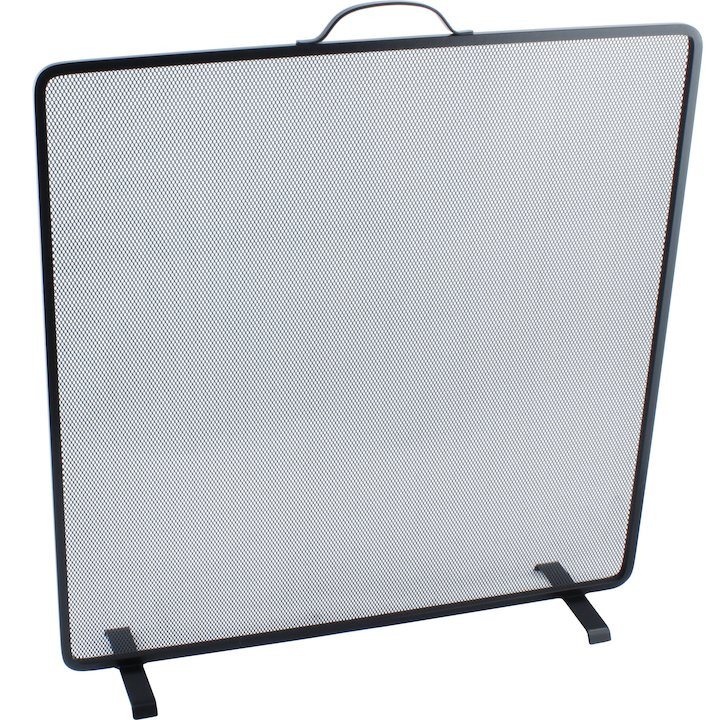 Calfire Noble Flat Square Medium Fire Screen - Black