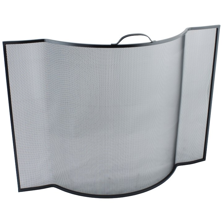 Calfire Noble Flat Sided Bowed Fire Screen - Black