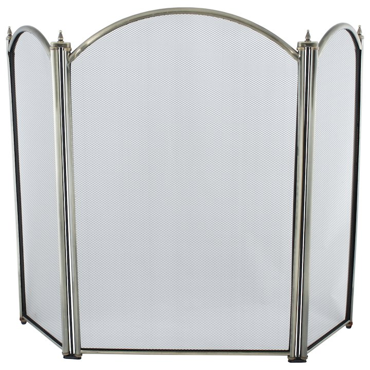 Calfire Regal 3 Fold Small Fire Screen - Antique Brass