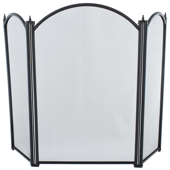 Calfire Regal 3 Fold Large Fire Screen - Black