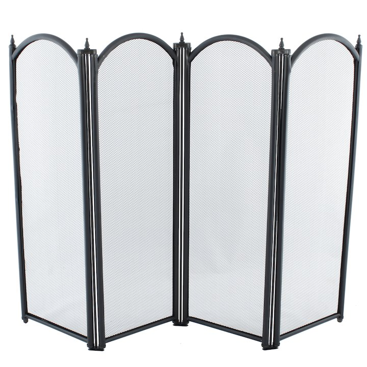 Calfire Regal 4 Fold Small Fire Screen - Black