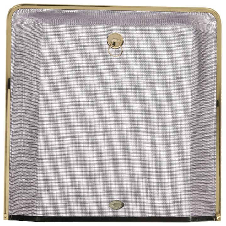 Calfire Square Small Sparkguard Fire Screen - Black / Brass