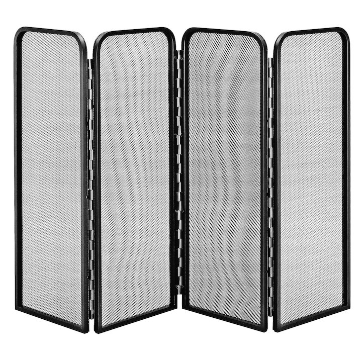 Manor 4 Fold Fire Screen - Black