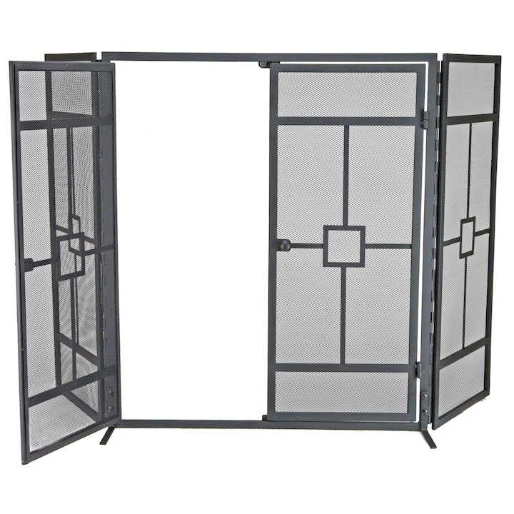 Manor Balmoral 3 Fold Fire Screen - With Doors - Black