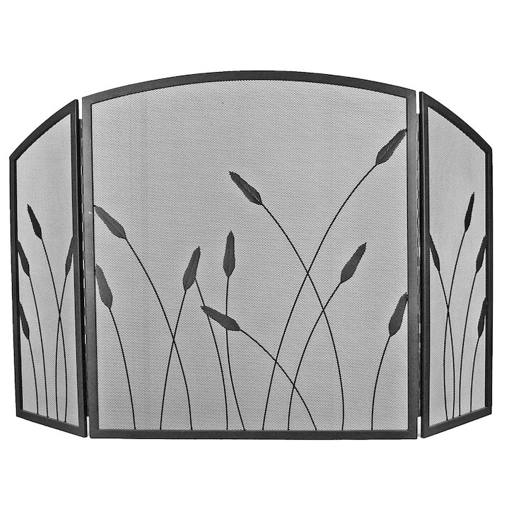 Manor Bullrush 3 Fold Fire Screen - Black
