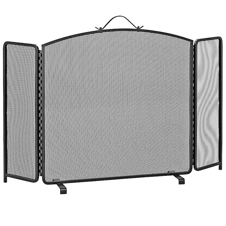 Manor Classic 3 Fold Arch Medium Fire Screen - Black