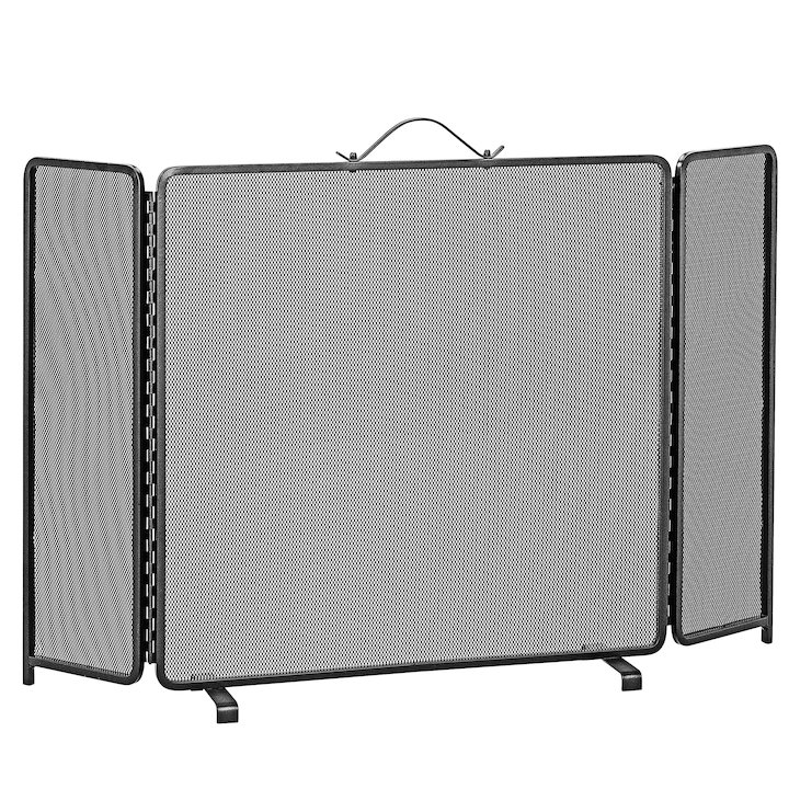 Manor Classic 3 Fold Large Fire Screen - Black