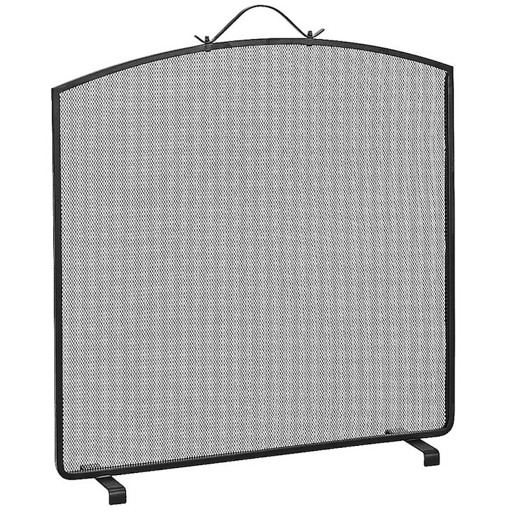 Manor Classic Arch Single Large Fire Screen - Black