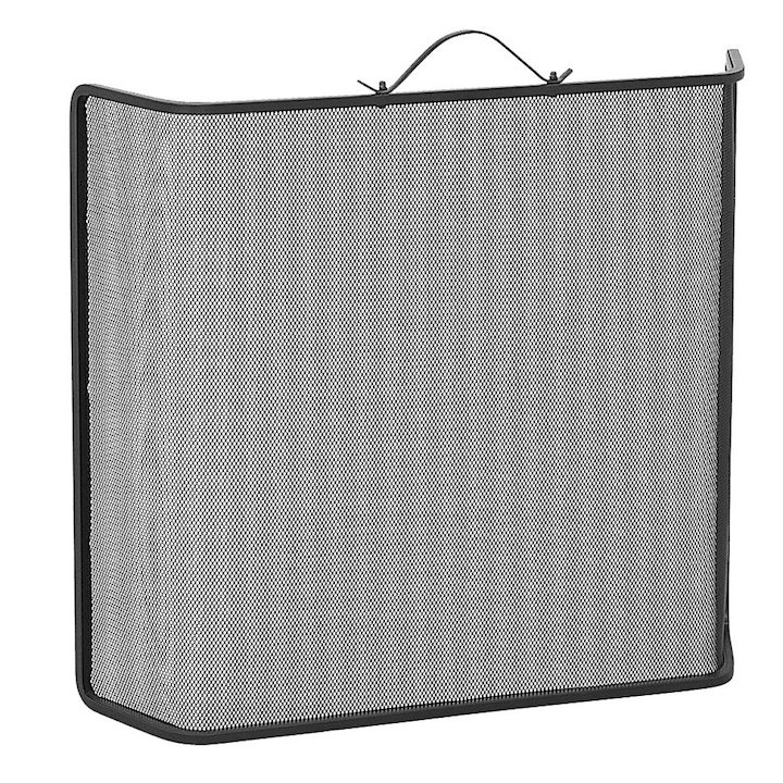 Manor Classic Shaped Small Fire Screen - Black