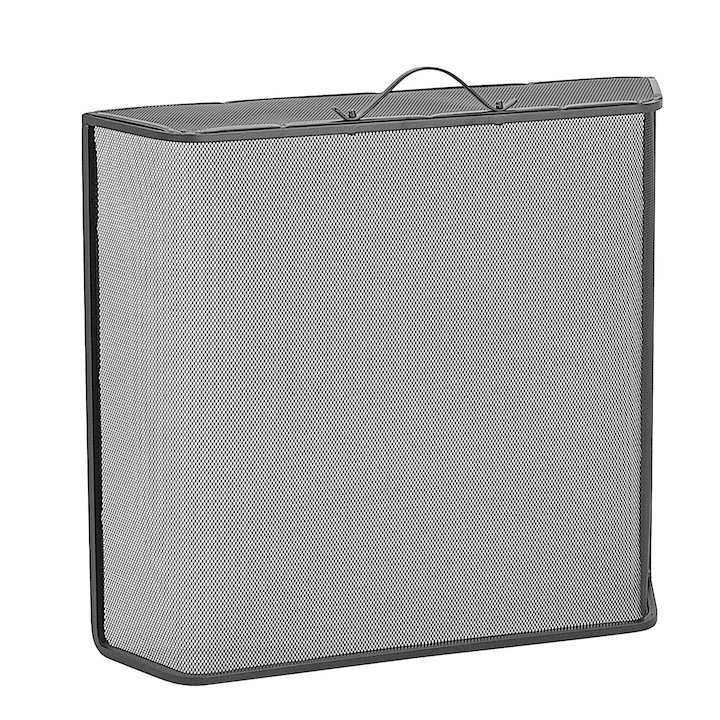 Manor Classic Shaped Top Large Fire Screen - Black