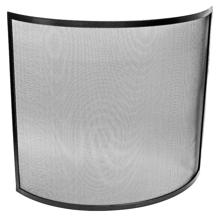 Manor Curved Large Fire Screen - Black