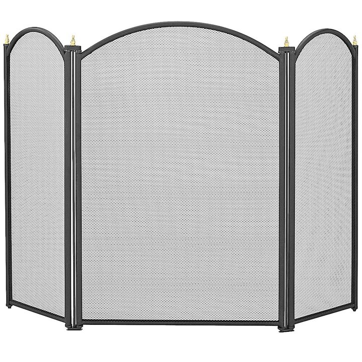 Manor Dynasty 3 Fold Large Fire Screen - Black