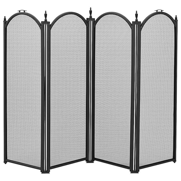 Manor Dynasty 4 Fold Large Fire Screen - Black