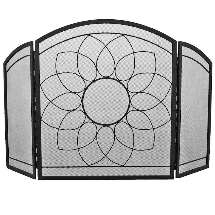 Manor Sunflower 3 Fold Fire Screen - Black