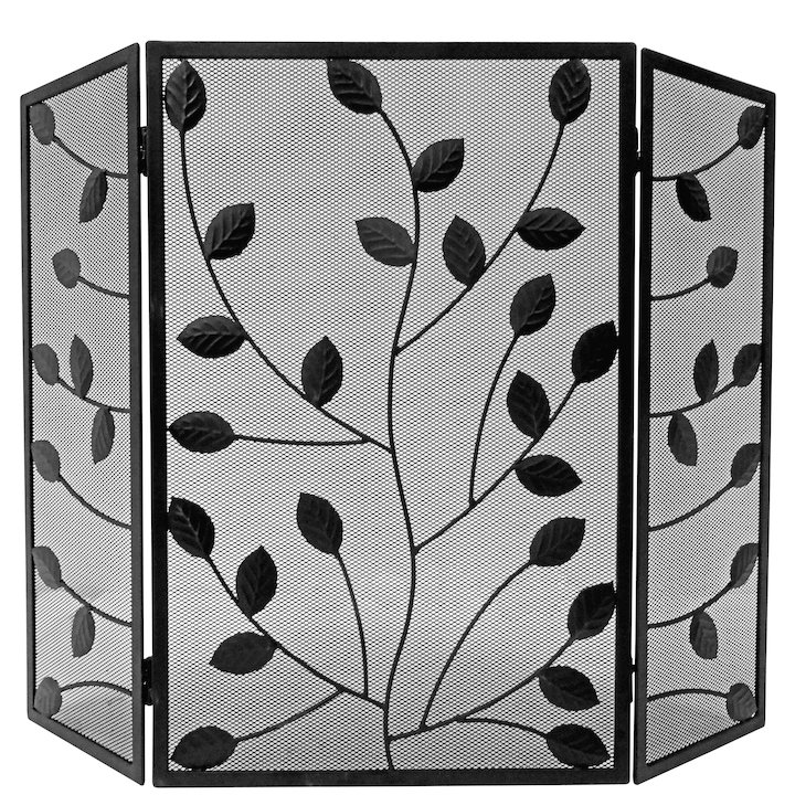 Manor Leaves 3 Fold Fire Screen - Black