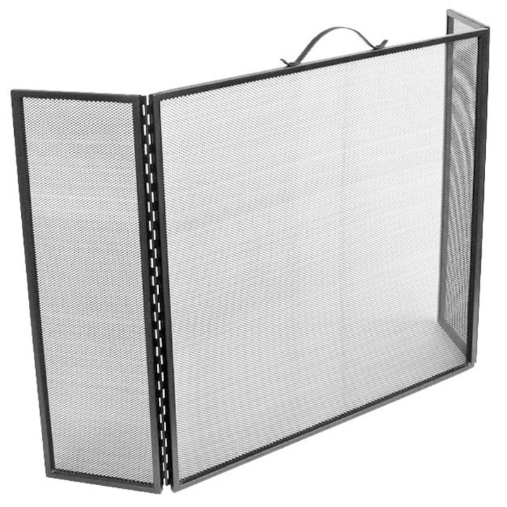 Manor 3 Fold Fire Screen - Black