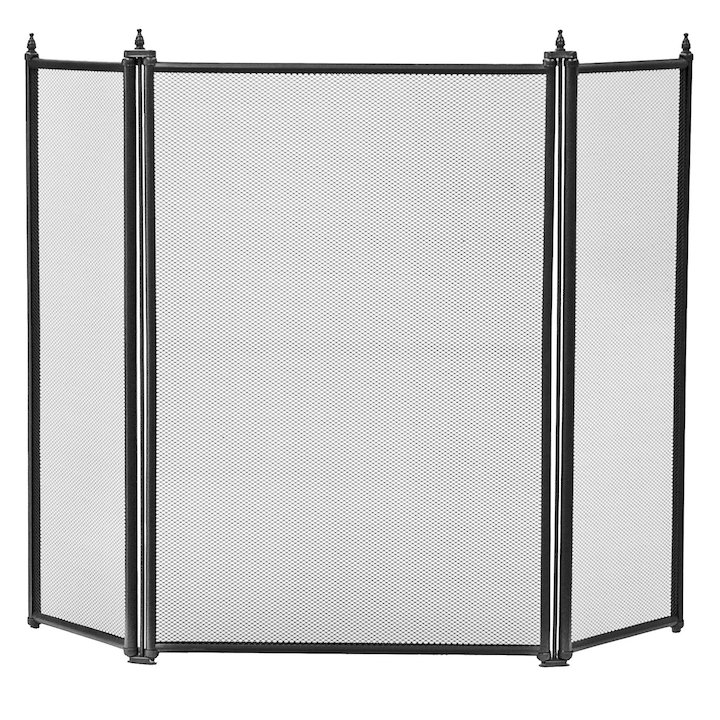 Manor Regency 3 Fold Fire Screen - Black