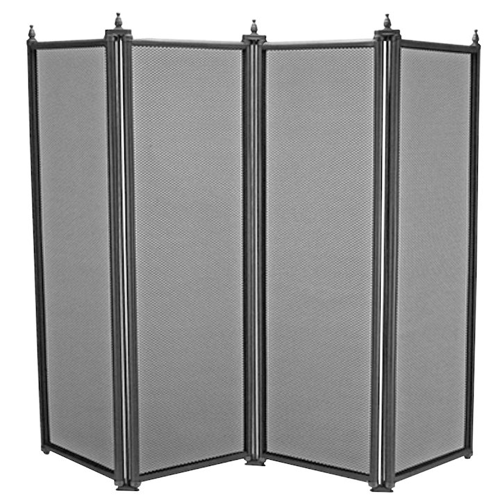 Manor Regency 4 Fold Fire Screen - Black