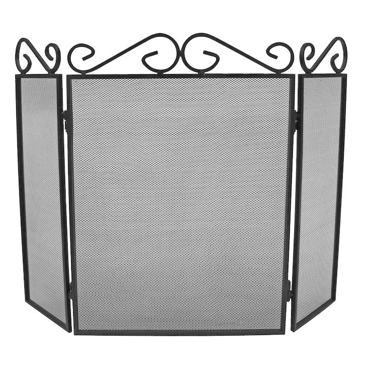Manor Scroll Top 3 Fold Fire Screen - Black
