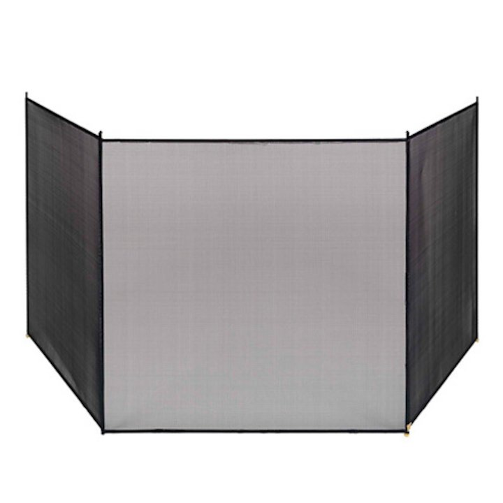 Vermont 3 Fold Large Fire Screen - Black