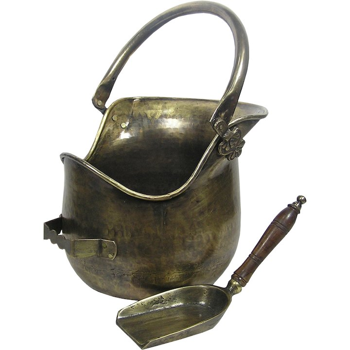 Calfire Plealey Coal Bucket With Shovel - Antique Brass