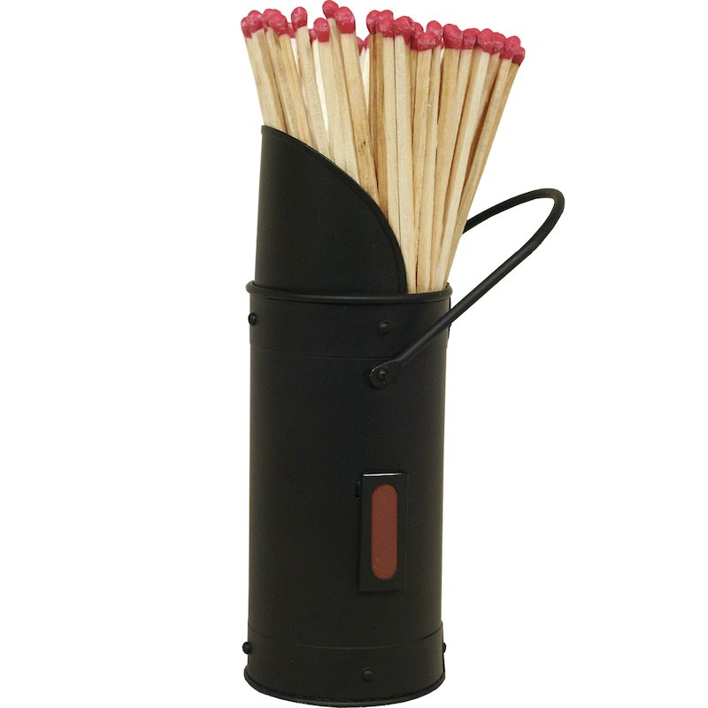 Calfire Coal Scuttle Match Holder - With Matches - Black