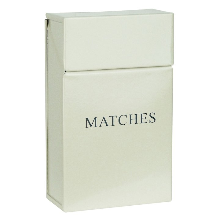 Manor Box Match Holder - With Lid - Cream